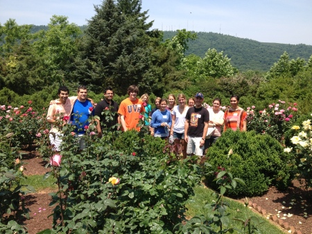 MSI Block B students touring the rose garden at Morven on the first day of class.