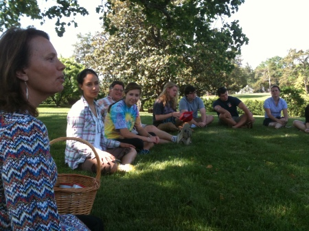 Circling around our mindfulness teacher and (hopefully) being aware of our beautiful natural surroundings.