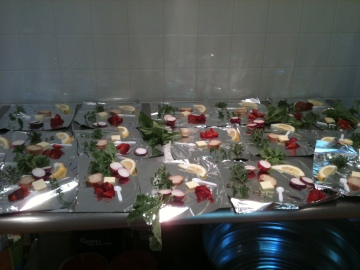 Our small trays of ingredients for the cooking demo!
