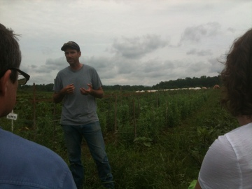Educational Farm Manager, Steve Vargo, telling us about how they manage pests and weeds at this certified-organic farm.