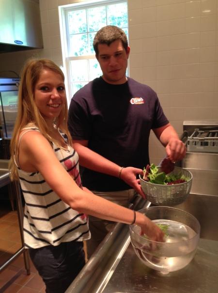 Washing lettuces!
